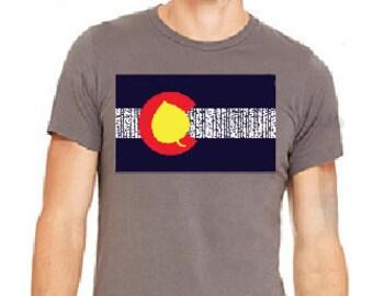 Aspen Tree Colorado Flag Grey T-Shirt