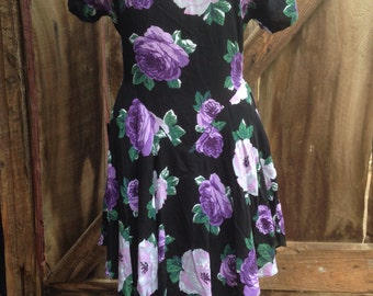 Vintage 80s 90s black purple floral rose ruffle rayon scarlet peplum USA made short sleeve summer party dress