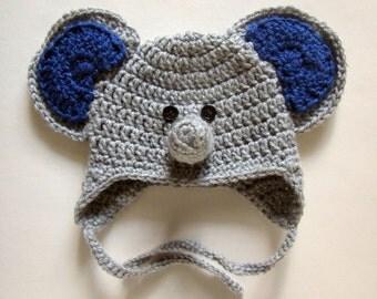 Crochet Baby Elephant Hat, baby gift, crochet animal hats, elephant baby shower, baby hats boy, baby hat crochet, baby elephant nursery