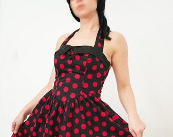 Black Dress Polka-dot/ Rockabilly dress/Goth dress