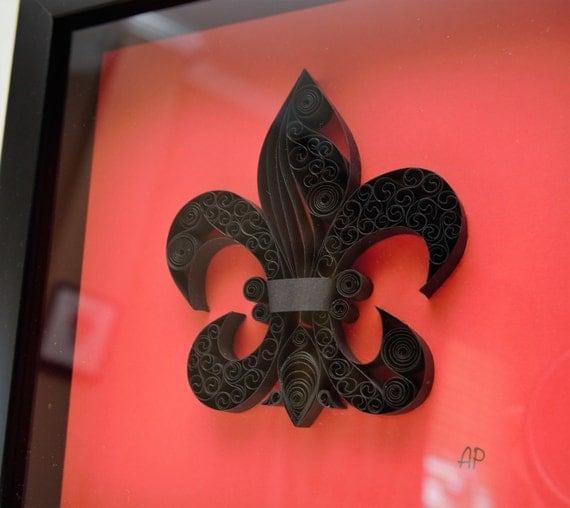 Framed Quilled Paper Art Fleur De Lis By Artsshopap On Etsy