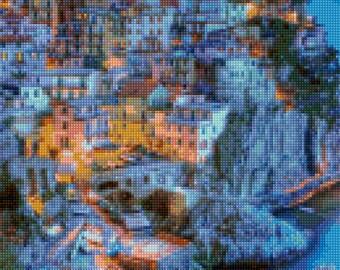 Cinque Terre Italy - Italian Riviera - Cross Stitch pattern PDF - Instant Download!