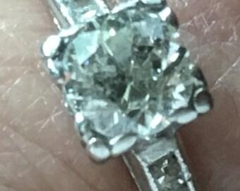 Platinum Art Deco Old European Diamond Engagement Ring