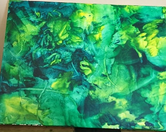 Peaceful Greens Melted Crayon Art