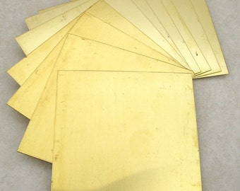 2 Solid Yellow Brass 22 gauge 3x3 inch sheets