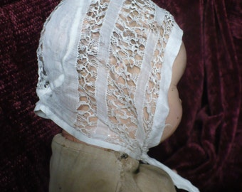 Fancy antique doll or baby hat, white cotton, handmade