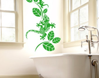 Patterned Gecko with Leaves Wall Sticker - Bathroom Lizard Art Vinyl Decal Transfer - by Rubybloom Designs