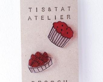 Cupcake & Tart Pinback - Handmade Shrink Plastic Brooch