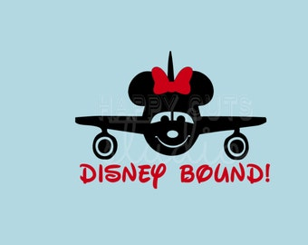 Here I Come!  Disney Bound Plane with Bow Mickey Minnie Mouse Disney Family Vacation Matching disney Iron On Decal Vinyl for Shirt 036