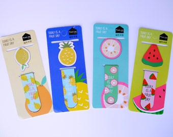 A Set of 2 Fruit Magnetic Page Markers, Magnetic Bookmark, Fruit Bookmark, Cute Bookmark, Planner Page Marker, Planner Accesories