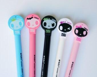 Cute Skull Pen, Novelty Pen, Planner Pens, Goth Pens, Black Ink, Halloween Pens, Kawaii Stationery, Planner Accessories