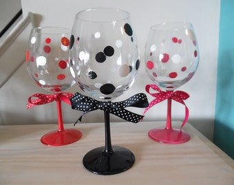 Hand Painted Polka Dot Wine Glass with Ribbon