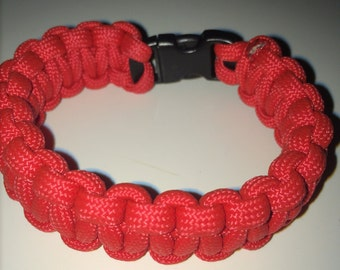 red paracord SURVIAL bracelet ( 7 1/4 in )