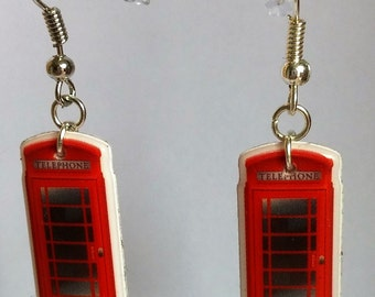 Red British Phone Box Earrings