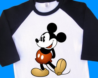 Vintage Mickey Mouse Shirt. Vintage Mickey Mouse Raglan,  Vintage Mickey Mouse T Shirt. Vintage Mickey Mouse Tee. [Minnie Mouse] (35014)