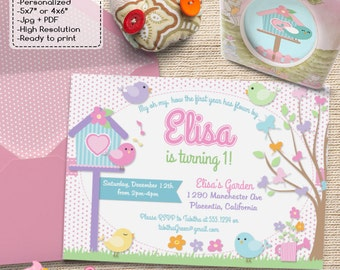Cute Little Bird Birthday Party invitations Birdies Garden DIY printable Birthday invite