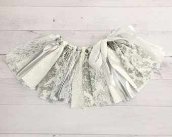White and Silver Winter Wonderland Fabric Tutu, Baby Girl White and Silver Snowflake Birthday Outfit