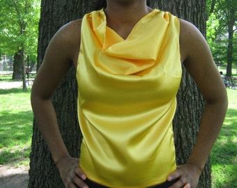 Cowl Top, Yellow top, Sleeveless, Summer top blouse.