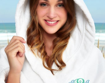 Monogrammed Hooded Turkish Terry Bath Robe, Personalized Bathrobe, Embroidered Terry Cotton Robe, 100% Combed Pure Cotton