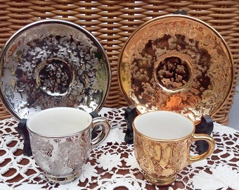 Gold and Silver Holly Ross Tea Cups and Saucers, Espresso size cups and saucers