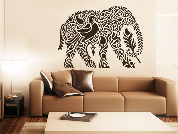 Indian elephant wall decal stickers yoga wall decal indie wall for Indie home decor