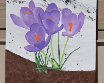 First Glimpse of Spring: Crocuses in Bloom, Original Acrylic Painting on Stretched Canvas, 16x20 inches