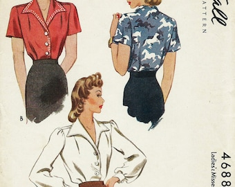 Vintage 1940s Blouse Sewing Pattern Repro 2 Styles McCall 4688 Size 16 Bust 34 Reproduction