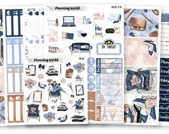 Girl Boss//VERTICAL Weekly Kit for Erin Condren, Happy Planner//Planner Girl Themed Sticker Set//7 Sheets of Stickers//B032