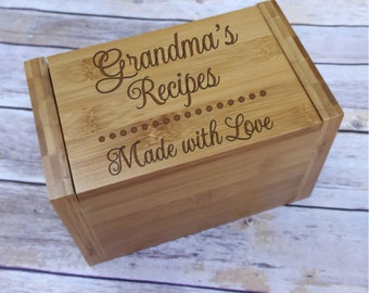 Personalized Grandma Recipe Box - Bamboo Recipe Box - Laser Engraved Recipe Box - Gift for Grandma - Dividers included