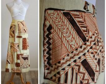 Vintage 70's Ethnic Tribal Print Wrap Hippie Boho Beach Maxi Cotton Skirt barkcloth