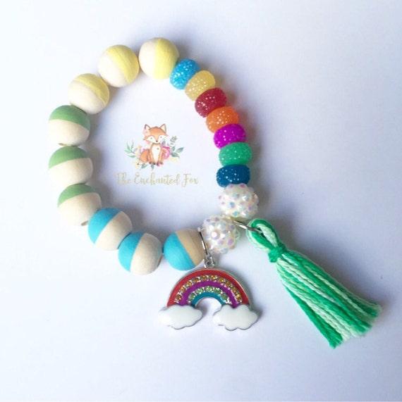 rainbow charm and tassel bracelet