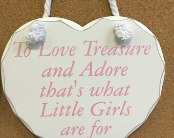 """Baby Girl Nursery Decor """"To love treasre and adore"""" Heart White Wood Pink Font"""