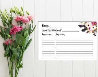 Boho Floral Wreath Recipe Card, Printable Recipe Card, Feathers Boho Recipe Card, Floral Recipe Card, Invite Insert, Instant Download 111-W