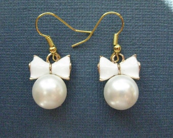 Pearl Bow Tie Earrings - Bowtie Earrings - Dangle Earrings - Elegant Earrings - Jewelry -- E119