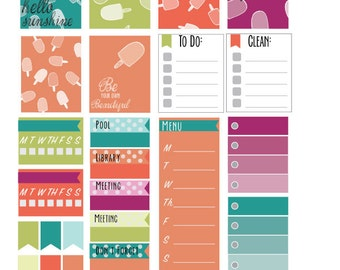 Pretty Popsicles planner stickers