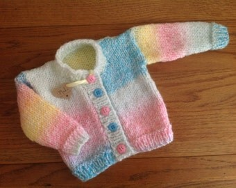 """Baby girl knitted jacket, baby cardigan, baby girl jacket, baby clothing, knitwear, Hand knitted, to fit chest 14-16"""",  chunky knit"""