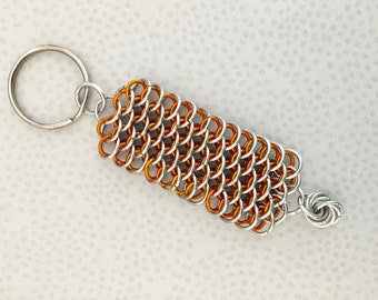 Orange Dragonscale Key Chain - Chainmaille Key Chain - Aluminum Chainmaille - Key Ring - Chainmaille Lanyard - Chainmaille Key Ring