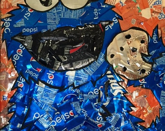 Recycled Soda Can Cookie Monster Wall Hanging