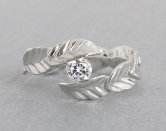 Valentines Day Gift, White Topaz Ring, Silver Leaf Ring with Natural White Topaz, Leaves Ring, Topaz Silver Ring, Silver Engagement Ring