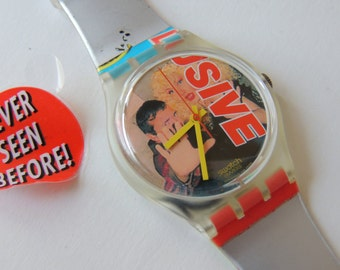 Vintage Swatch Watch Never Seen Before GK258, scratch off Swatch, tabloids swatch, paparrazi swatch, gossip watch