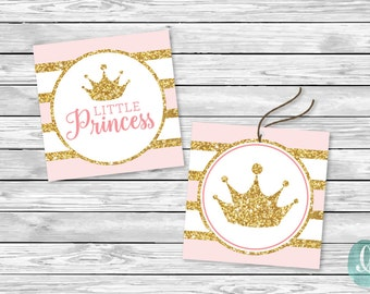 Printable Tag Baby Shower Decor Party Pink Glitter Little Princess Girl Birthday Printable Sticker Cupcake Topper Tag Crown Instant Download