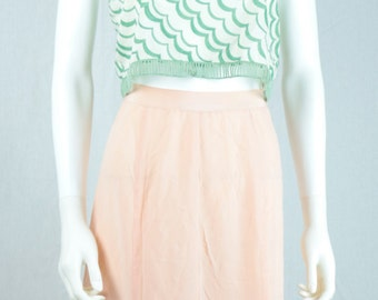 VINTAGE Pink/Blush/Peach High-Waisted Midi Sheer Skirt sz small