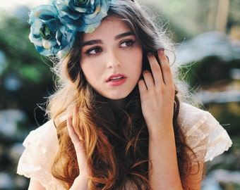 Something Blue Flower Crown - Bridal - Halo - Headpiece