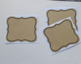 6 labels adhesive natural kraft enliserai black 9, 5 x 8, 5 cm