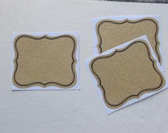 6 labels adhesive natural kraft liserai black-9, 5 x 8, 5 cm