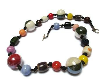 Multicolor ceramic necklace / Black suede, ceramic bead necklace / Boho necklace / Gypsy necklace / Beaded necklace / Rustic necklace /