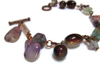 Ametrine, fluorite and glass bead bracelet / Boho bracelet / Christmas gift / Gypsy bracelet / Fluorite, ametrine and glass bead bracelet /