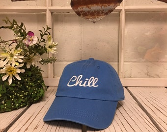 New CHILL Baseball Cap Low Profile Dad Hats Baseball Hat Embroidery Sky Blue/White Thread
