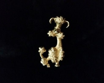 Avon Gold Tone Poodle Brooch