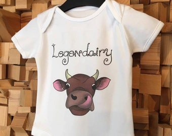 Baby Bodysuit, Cow Design 'Legendairy', Sizes available 3 months-9 months Babygro